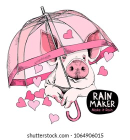 Card of a Valentine's Day. Pig with a transparent pink umbrella and with a rain of hearts. Vector illustration.