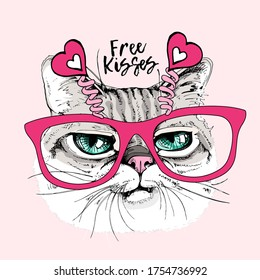 Card of a Valentine's Day. Portrait of the the funny crazy cat in the pink glasses with hearts. Humor card, t-shirt composition, hand drawn style print. Vector illustration.