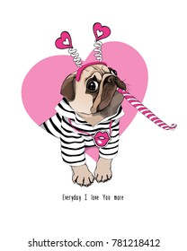 Card of a Valentine's Day. Pug Dog in a striped cardigan, in a fun headband and with a pink funny party whistle blowing. Vector illustration.