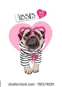 Card of a Valentine's Day. Pug Dog in a striped cardigan, in a fun pink heart glasses. Vector illustration.