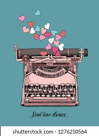 Card of a Valentine's Day. Vintage pink Typewriter with a hearts. Real love stories - lettering quote. Humor t-shirt composition, hand drawn style print. Vector illustration.