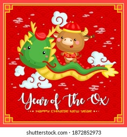 A card vector of cute ox in Chinese new year celebration costume riding a dragon