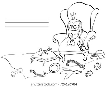 card vector outline in lines comic dog in armchair with crown surrounded by dog toys, ball, goose, torus, bowls, cushions for a canine toy store or a veterinarian black in white background
