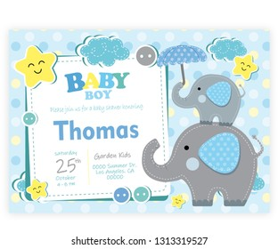card vectorial baby shower child - baby elephant - illustration