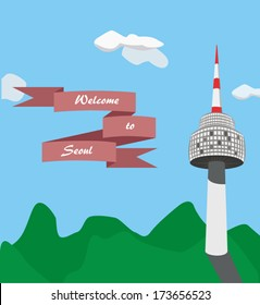 Card with view of Seoul Namsan tower and red ribbon with greetings. Korean famous landmark. Vector illustration.