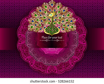 The card or wedding invitation with a pink circular pattern in the Indian, Arab, Islamic, Turkish style , and gold peacock of jewels