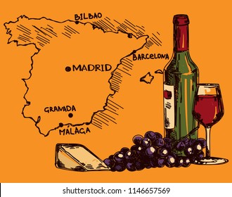 Card with wine bottle, glass and cheese and Spain map, can be used for tourism or for wine tasting, vector illustration in sketch style