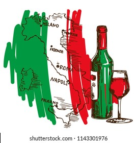 Card with wine bottle, glass and Italy map in national flag colors, can be used for tourism or for wine tasting, vector illustration in sketch style