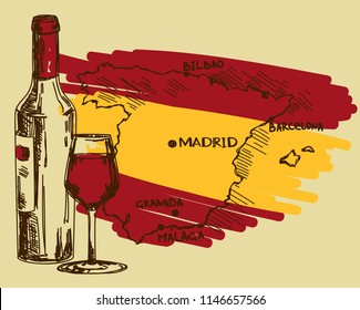 Card with wine bottle, glass and Spain map in national flag colors, can be used for tourism or for wine tasting, vector illustration in sketch style