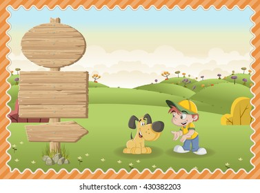Card with a wooden signs. Cartoon children playing with a dog on a green park.