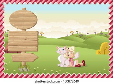 Card with a wooden signs. Cartoon girl playing with a cat on a green park.