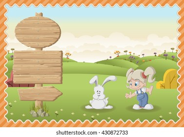 Card with a wooden signs. Cartoon girl playing with a bunny on a green park.