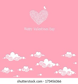 """Card with the words """"Happy Valentine's Day."""" Pink sky."""