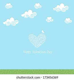"""Card with the words """"Happy Valentine's Day."""" Sky, clouds, bird."""