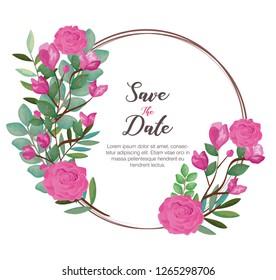 card with wreath of beautiful rosebush