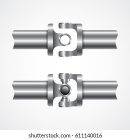 Cardan shaft. Auto spare parts. Vector illustration.
