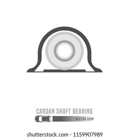 Cardan shaft bearing image. Spare parts icon in greyscale colors. Editable vector illustration isolated on a white background. Automotive concept.
