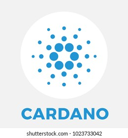 Cardano (ADA) decentralized public blockchain and layered cryptocurrency. Cardano contracts vector white blue logo.