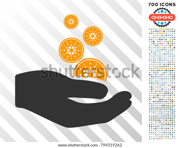 Cardano Coins Payment Hand Icon 700 Stock Vector (Royalty Free