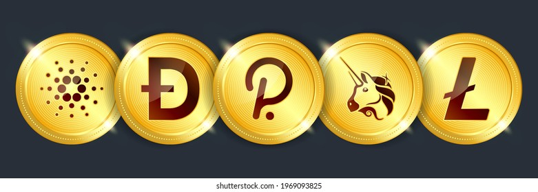 Cardano, dogecoin, polkadot, uniswap, litecoin crypto currency digital payment system blockchain concept. Cryptocurrency golden coin isolated on dark background. Vector illustration