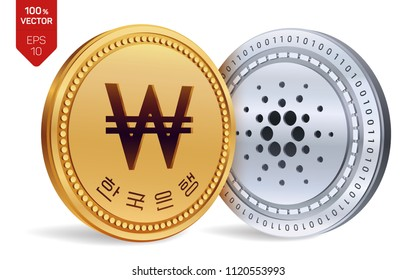 Cardano. Won. 3D isometric Physical coins. Digital currency. Korea Won coin. Cryptocurrency. Golden and silver coins with Cardano and Won symbol isolated on white background. Vector illustration.