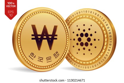 Cardano. Won. 3D isometric Physical coins. Digital currency. Korea Won coin. Cryptocurrency. Golden coins with Cardano and Won symbol isolated on white background. Vector illustration.