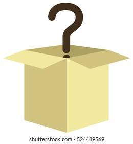 cardboard box with black questionmark inside