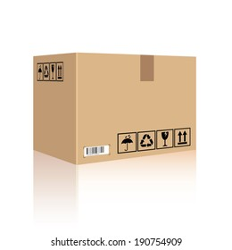 Cardboard box carton container. Vector illustration