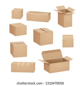 Cardboard box carton package set. Shipping delivery box mockup cargo design open cardboard parcel.