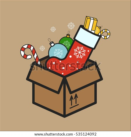 cardboard box with christmas decorations minimalistic flat line color stroke icon pictogram illustration - Cardboard Box Christmas Decorations