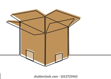 Cardboard Box Continuous Line Vector