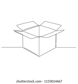 A cardboard box is drawn by one black line on a white background. Continuous line drawing. Vector illustration
