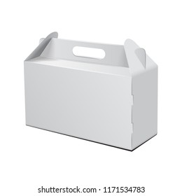 Cardboard Box. For Fast Food, Cake, Gift, etc. Carry Packaging. Vector Mockup. White Template of package for your design