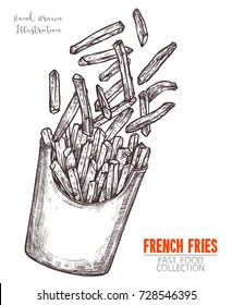 Cardboard box with french fries hand drawn sketch. Black outline engraving design fast food meal. Cooked fried potatoes in packed takeaway. Vector illustration isolated on white background