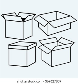 Cardboard box. Isolated on blue background. Vector silhouettes