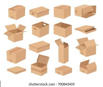 Cardboard box mockup set. Illustration of 16 cardboard box cartoon style mockups