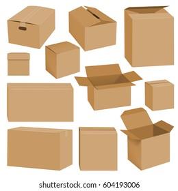 Cardboard box mockup set. Realistic illustration of 10 cardboard box mockups for web. Brown delivery set vector
