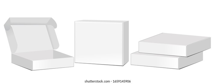 Cardboard box mockup set. white delivery set vector. Empty open and closed cardboard box. Isolated on a transparent background. Vector illustration. flat box. illustration eps 10