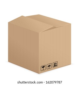Cardboard box on a white background. Vector illustration.
