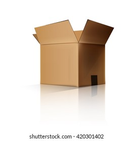 cardboard box opened. Vector illustration. Layered and easy to edit
