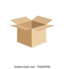 Cardboard box.  Box opened. Vector illustration.