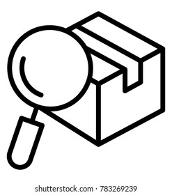 Cardboard box parcel tracking number with magnifying glass, line vector icon