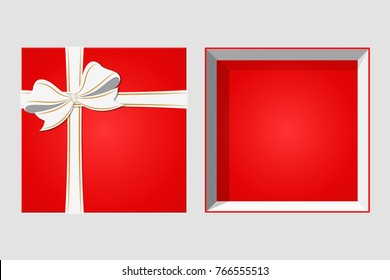 Cardboard Box with Ribbon and Bowknot. Happy Birthday Christmas New Year Wedding or Valentine Day Package Design. Closeup Vector illustration Top View