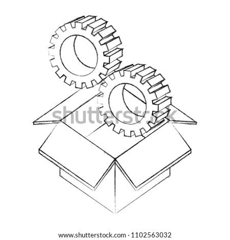 Cardboard Box Settings Gears Isometric Design Stock Vector Royalty