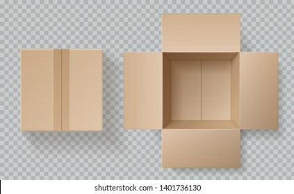 Cardboard box top view. Open closed boxes inside and top, brown pack mockup, delivery service realistic empty carton vector packaging template