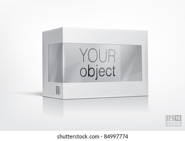 Cardboard box with a transparent plastic window for new design. Eps10 vector