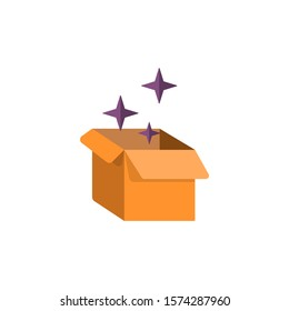 cardboard box vector flat icon with magical sparkles around it. Halloween, birthday vector icon isolated on white background. Cardboard 3d giftbox.