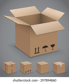 Cardboard box, vector icons