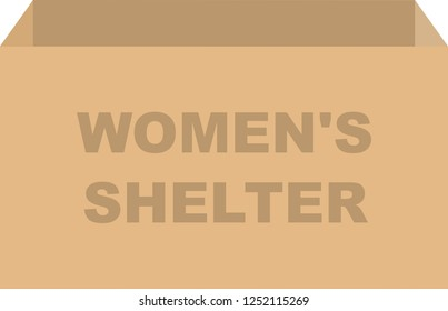 Cardboard box vector for womens shelter donations concept