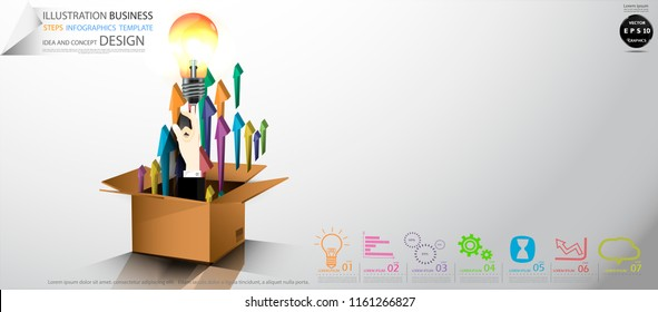 Cardboard boxes- Hands Businessman  pointing   Light bulbs - Arrow Colorful, icon,Illustration Business Steps Infographics Template Idea and concept design.